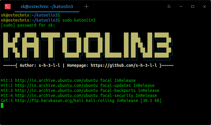 Run Katoolin3 in Ubuntu
