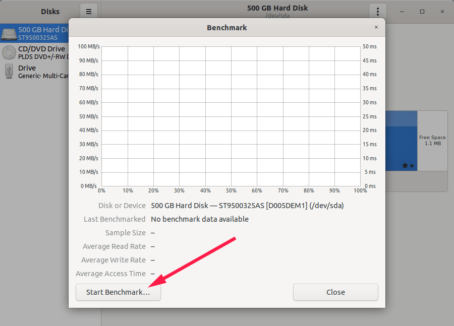 Start Benchmark with GNOME Disks in Linux