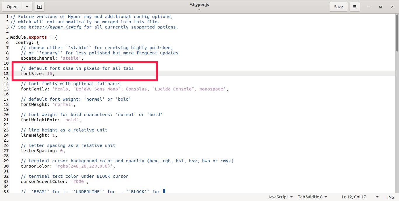 Change font size in hyper terminal
