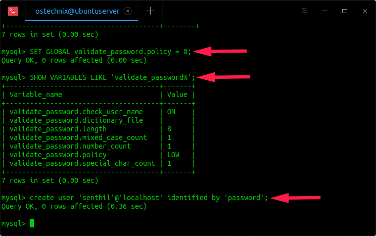 Change password validation policy in mysql