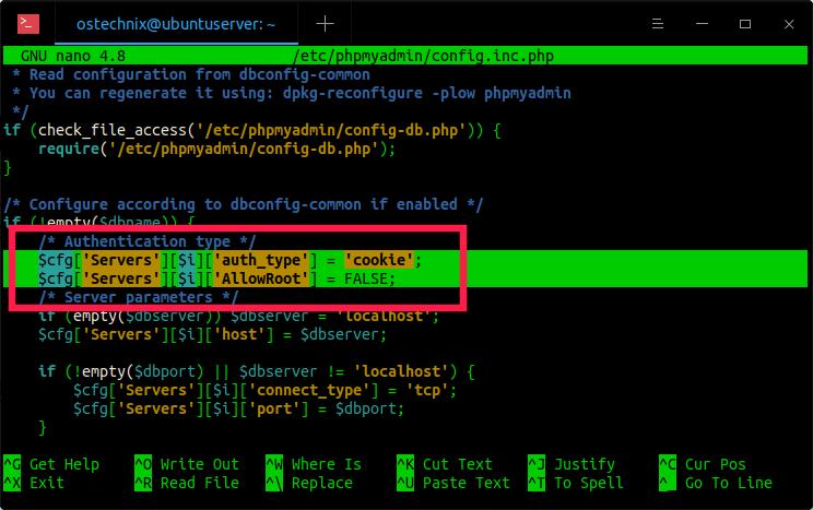 Edit phpmyadmin config file
