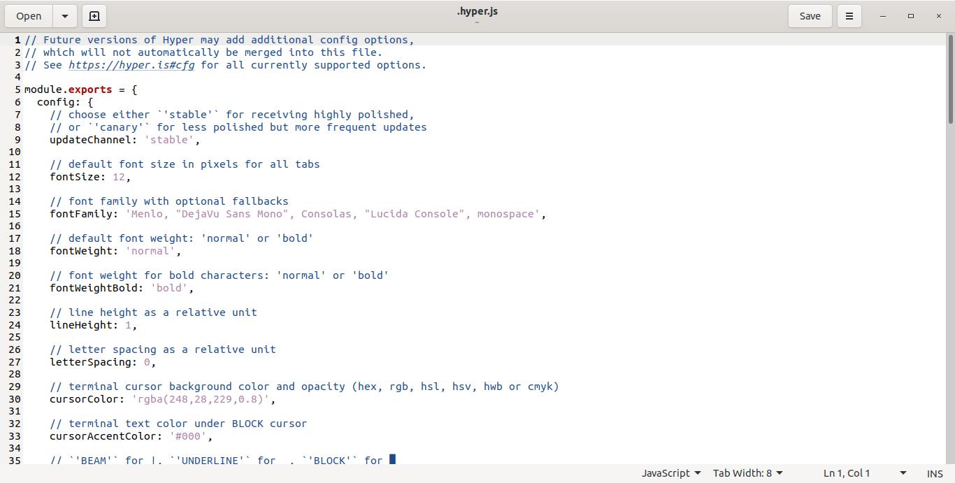 Hyper terminal configuration file