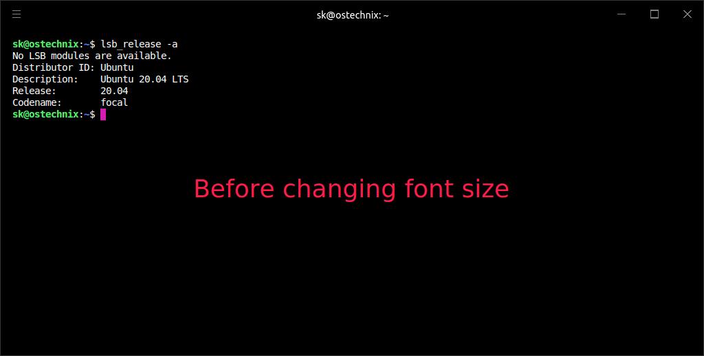 Hyper terminal default font size