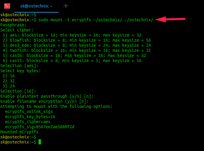mount directories encrypted with eCryptfs