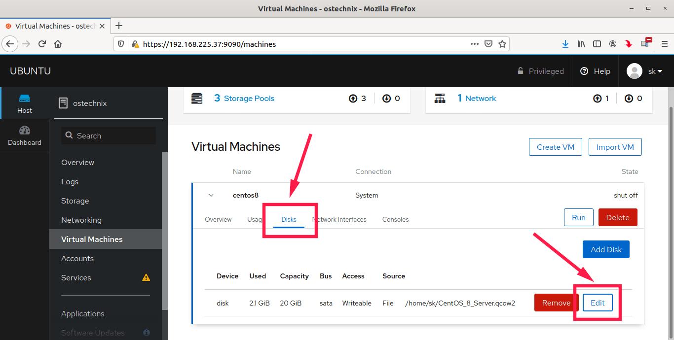 Configure virtual machine disk settings in Cockpit