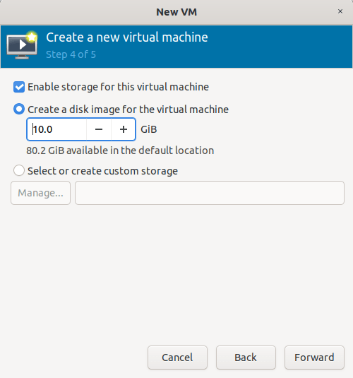 Create a disk image for the KVM virtual machine
