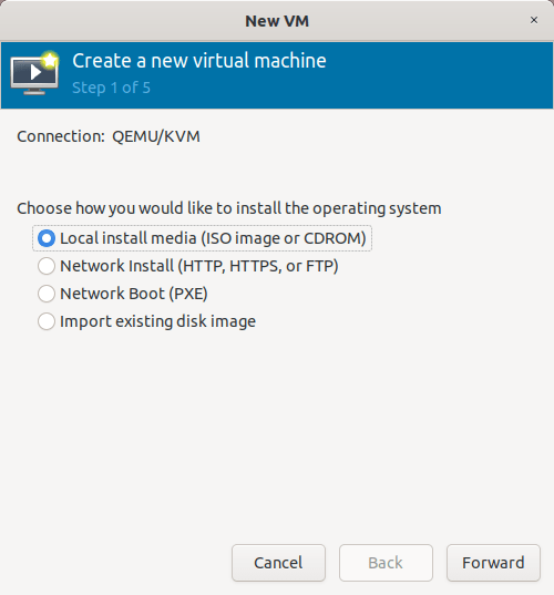 Create a new KVM virtual machine from Virt-manager