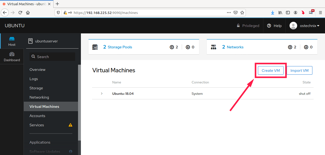Create new kvm virtual machine from cockpit