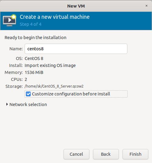 Customize virtual machine configuration before installing it