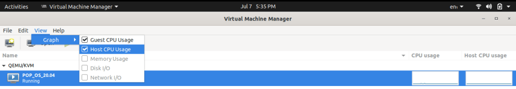 Display Kvm host and guest CPU usage