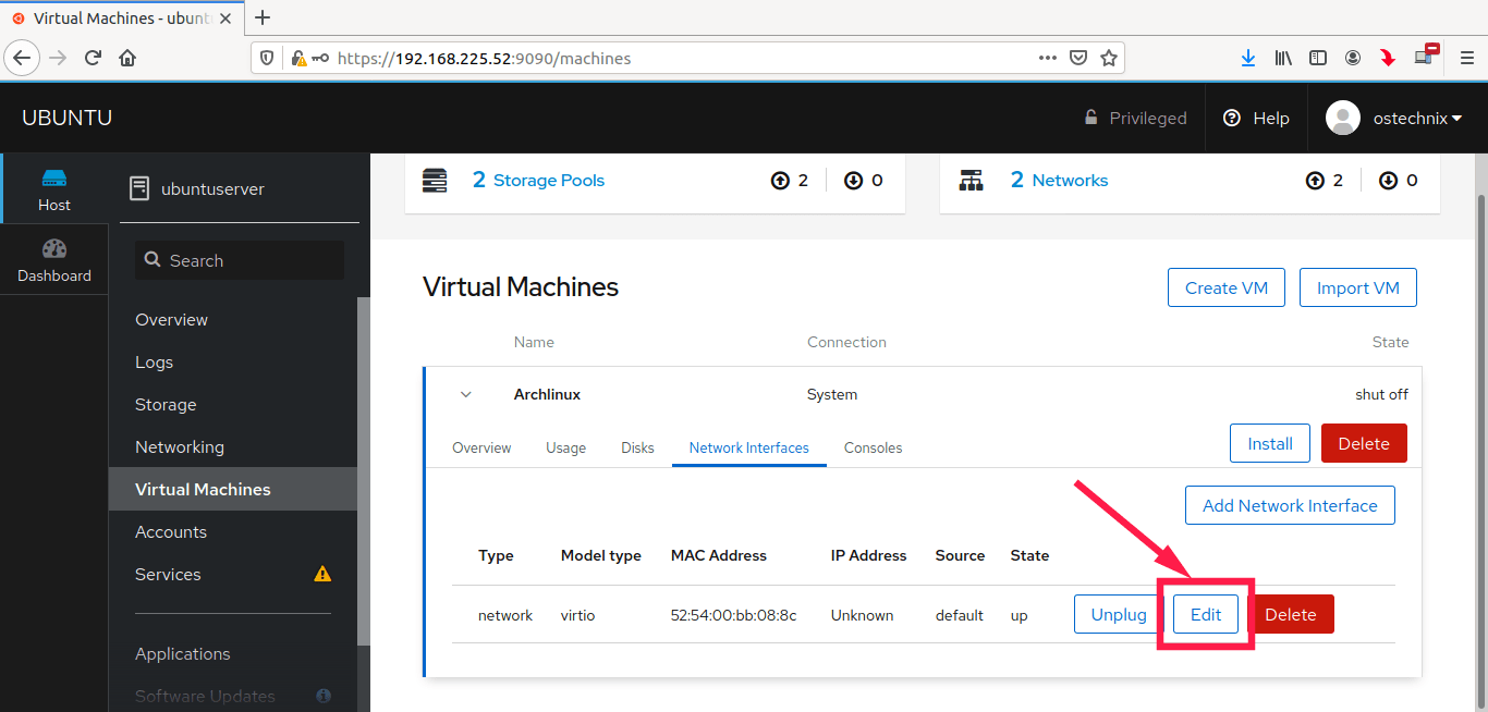 Edit virtual machine network settings in Cockpit console