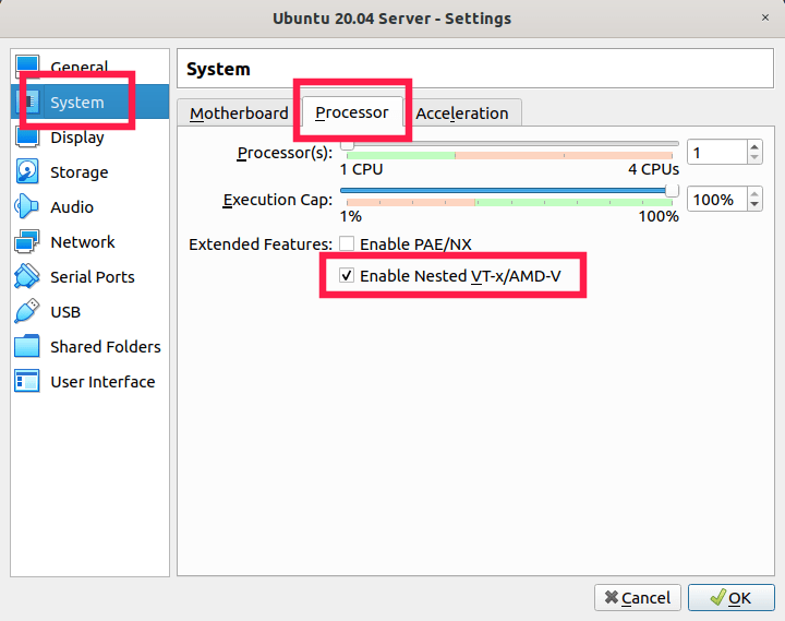 Enable nested virtualization in virtualbox manager