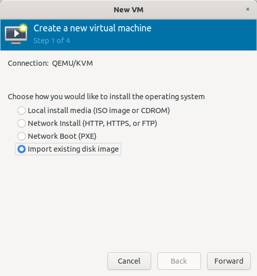 Import Qcow2 images using Virt-manager