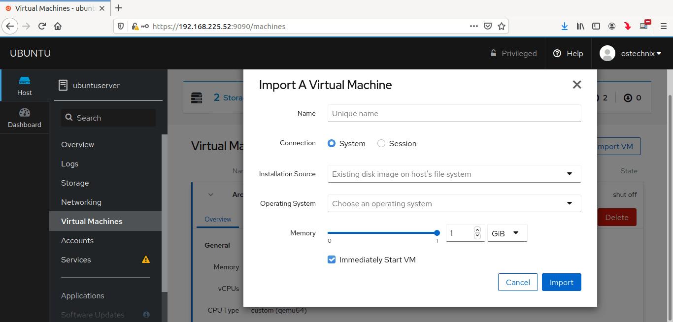 Import virtual machines via Cockpit
