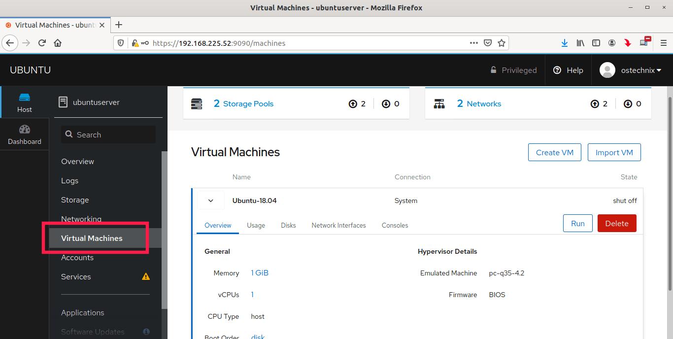 Manage kvm virtual machines using cockpit web console