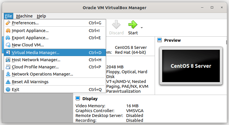 Open Virtual Media Manager In VirtualBox
