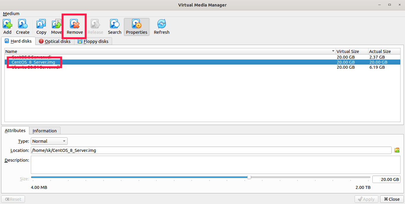 Remove virtual disk from Virtual media manager
