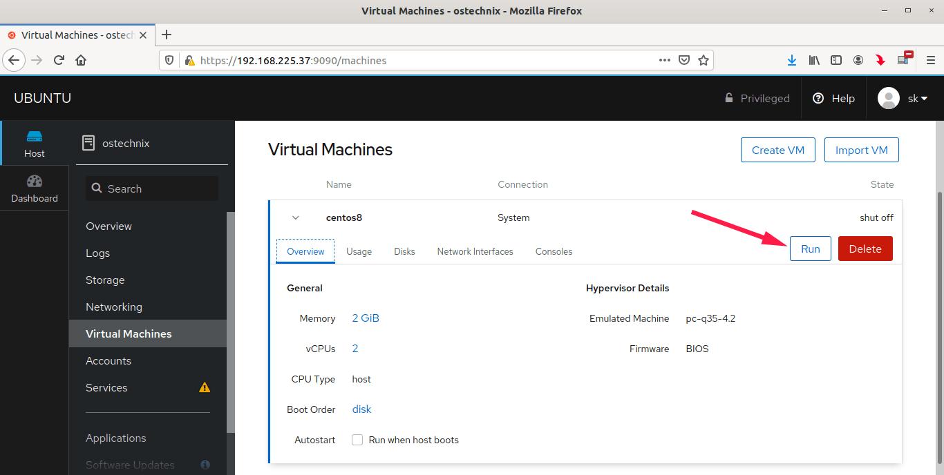 Run KVM virtual machines from Cockpit