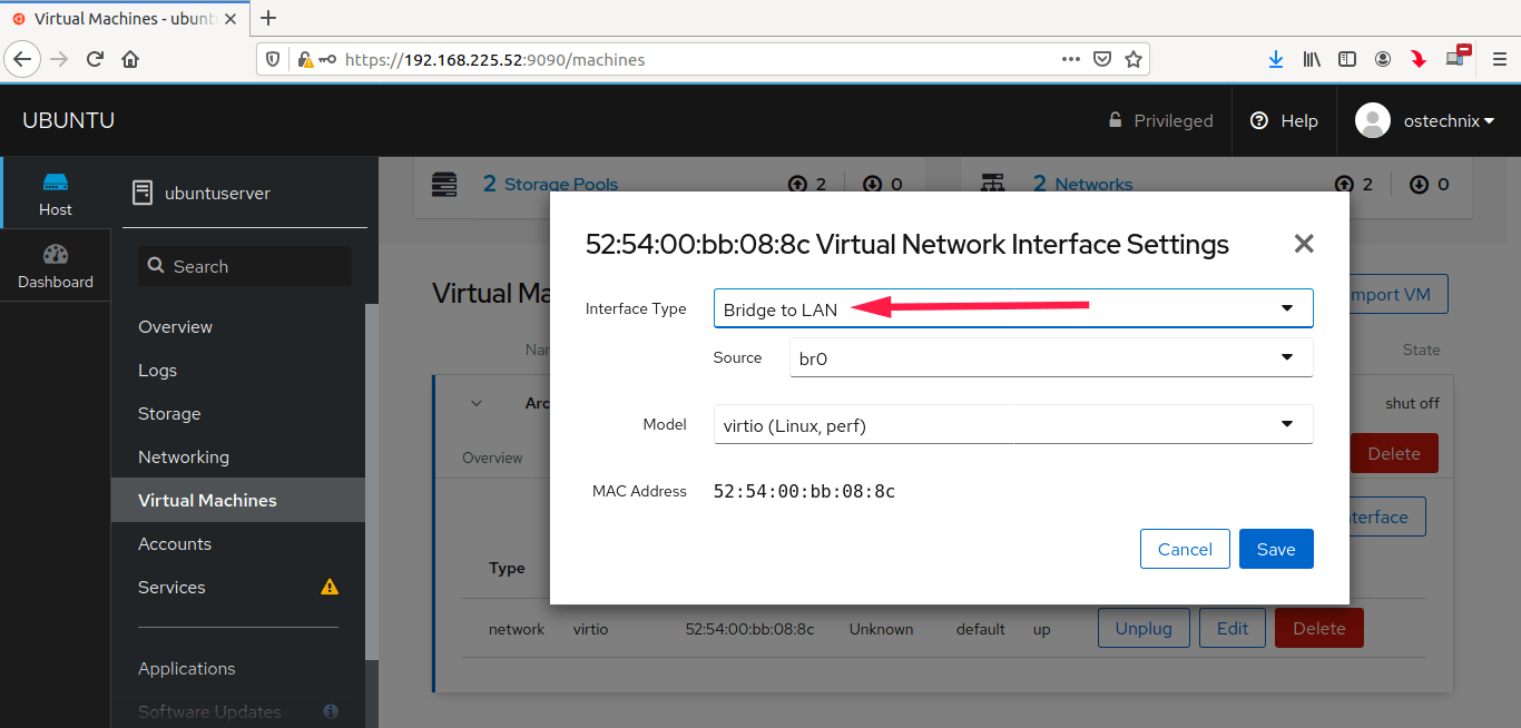 Select bridge networking for Kvm virtual machines in Cockpit