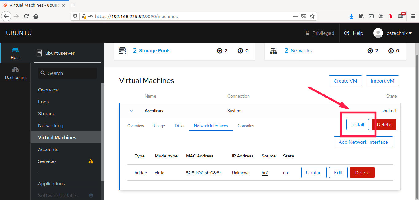 Start Guest OS installation on Kvm host via Cockpit
