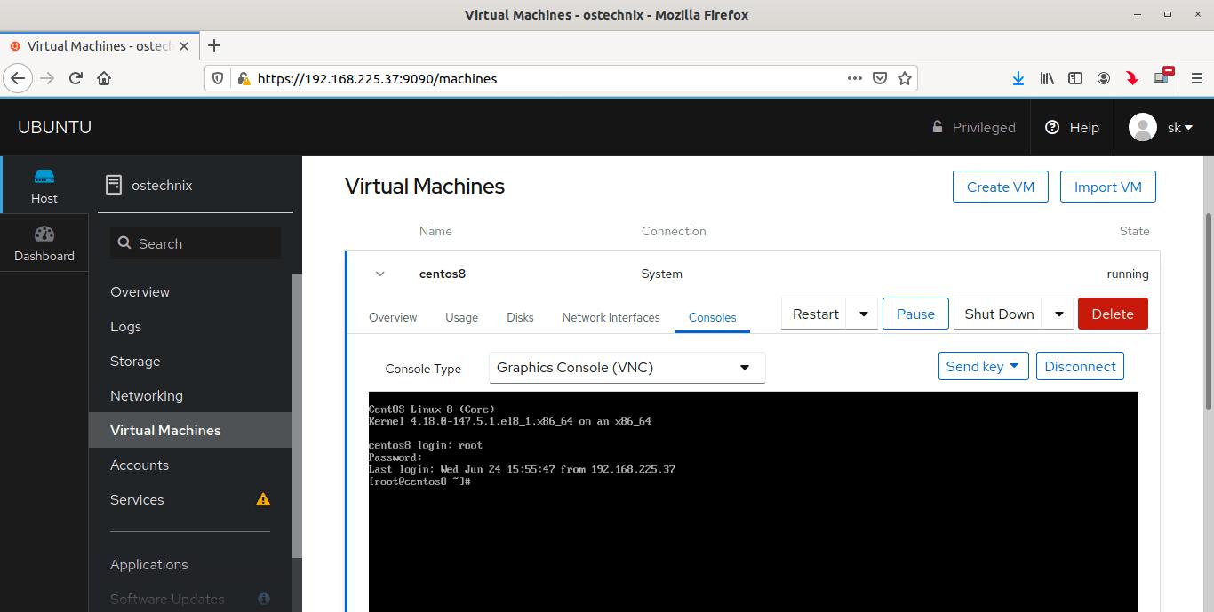 View running KVM virtual machines in Cockpit