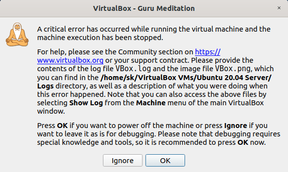 Virtualbox Guru Meditation Error