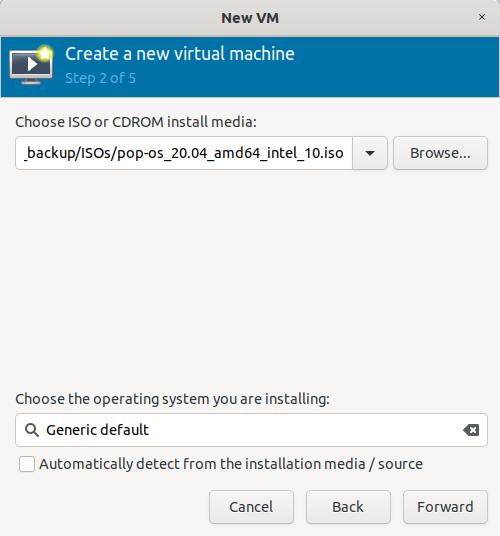 choose ISO or install medium location