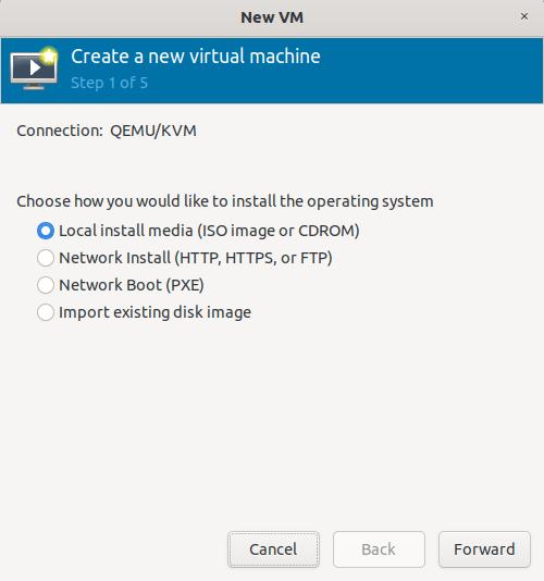 choose install medium for kvm guest