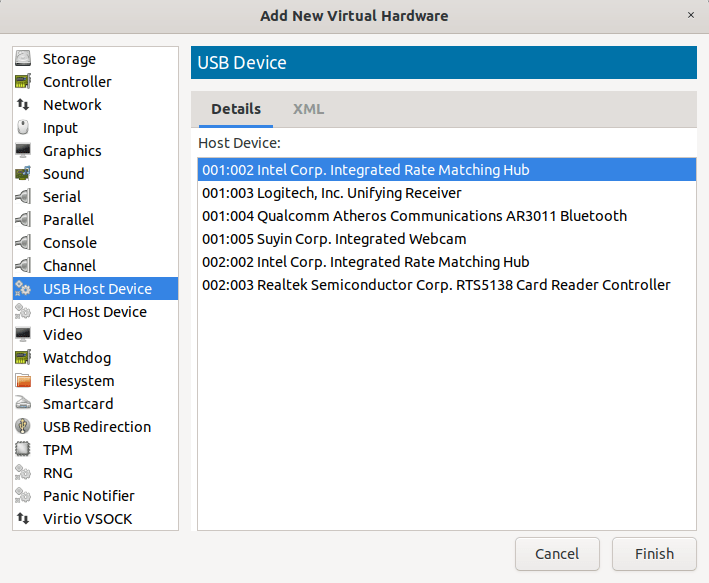 choose virtual hardware to attach to KVM guest