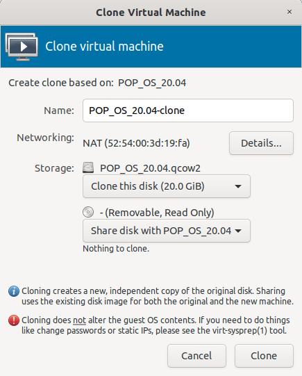 clone Kvm virtual machine