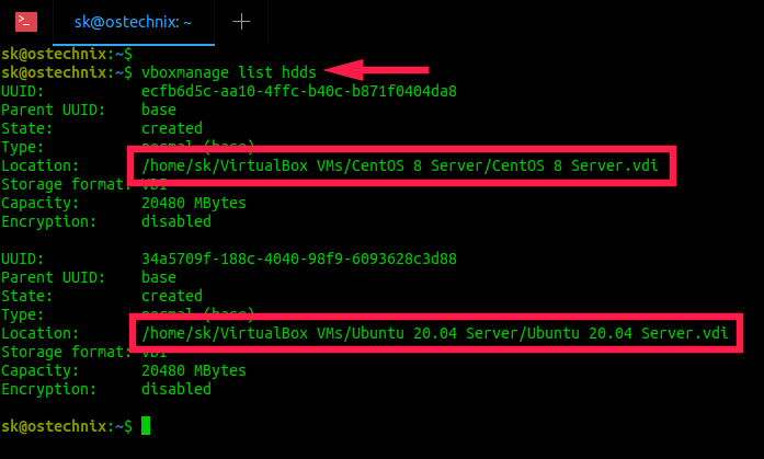 List virtualbox disk images details in Linux