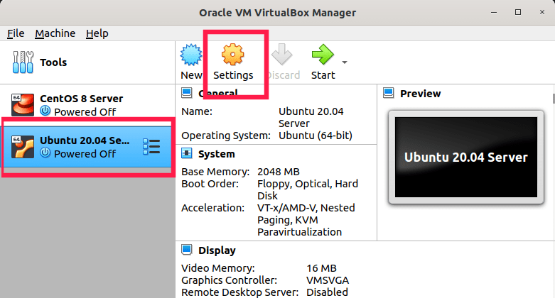 virtual machine settings in virtualbox