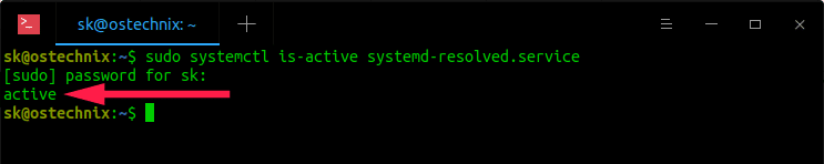 Check if systemd-resolved service is active