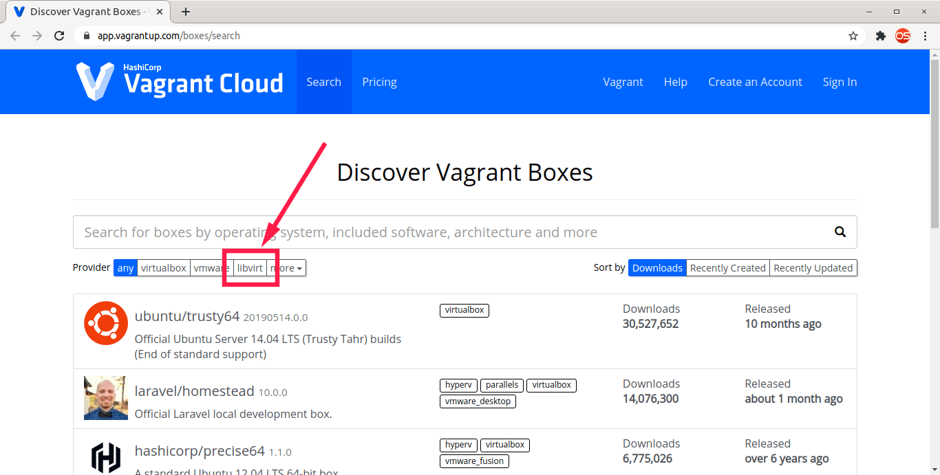 Discover Vagrant boxes supported by libvirt
