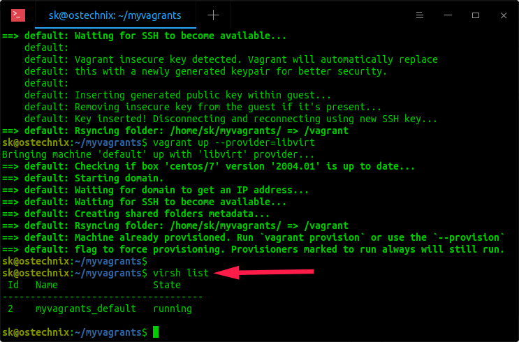 Verify if VM is running in libvirt kvm using virsh
