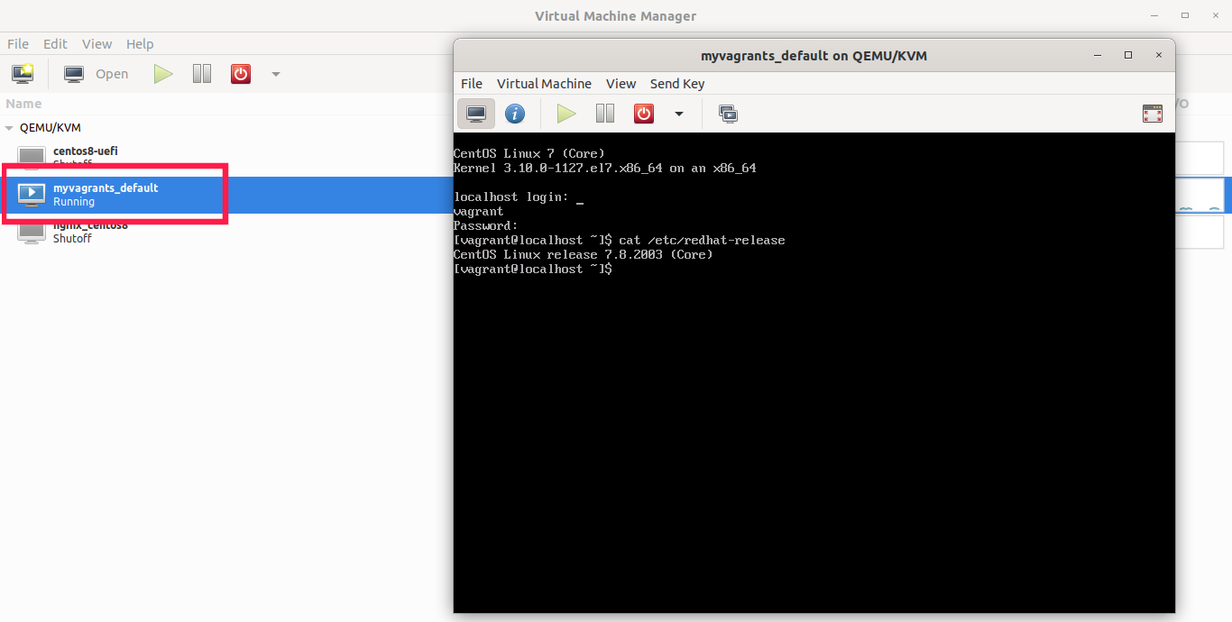 Verify if VM is running in libvirt kvm using virt-manager