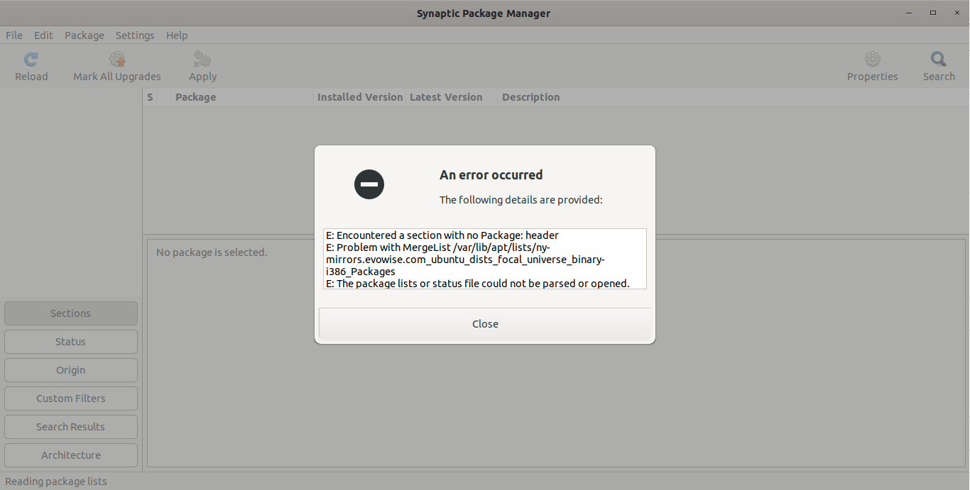 Encountered a section with no Package: header error in Ubuntu