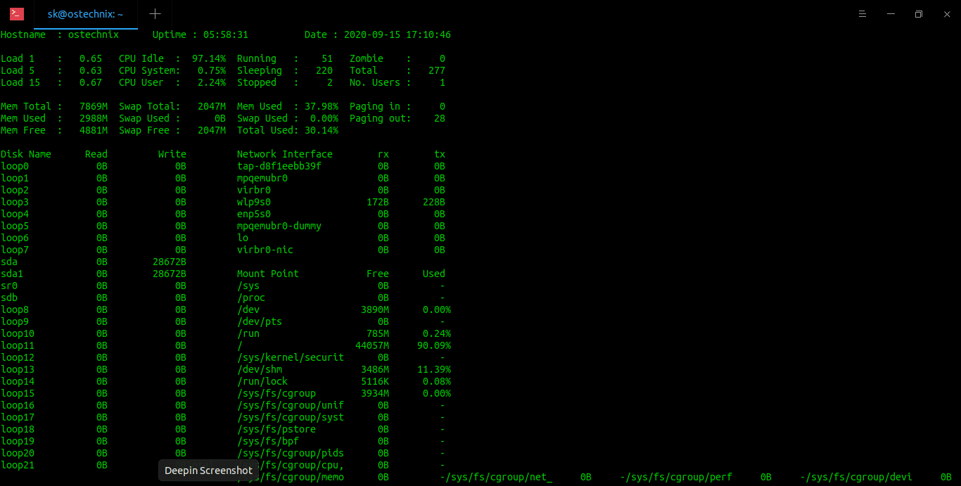View Linux System Statistics With Saidar