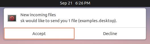 Warpinator incoming file request window