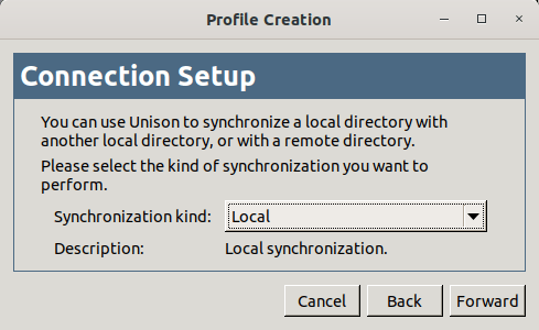 Choose the type of synchronization in Unison