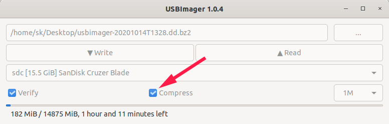 Create backup image file from the USB device using USBImager