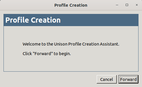 Create new profile in Unison-gtk