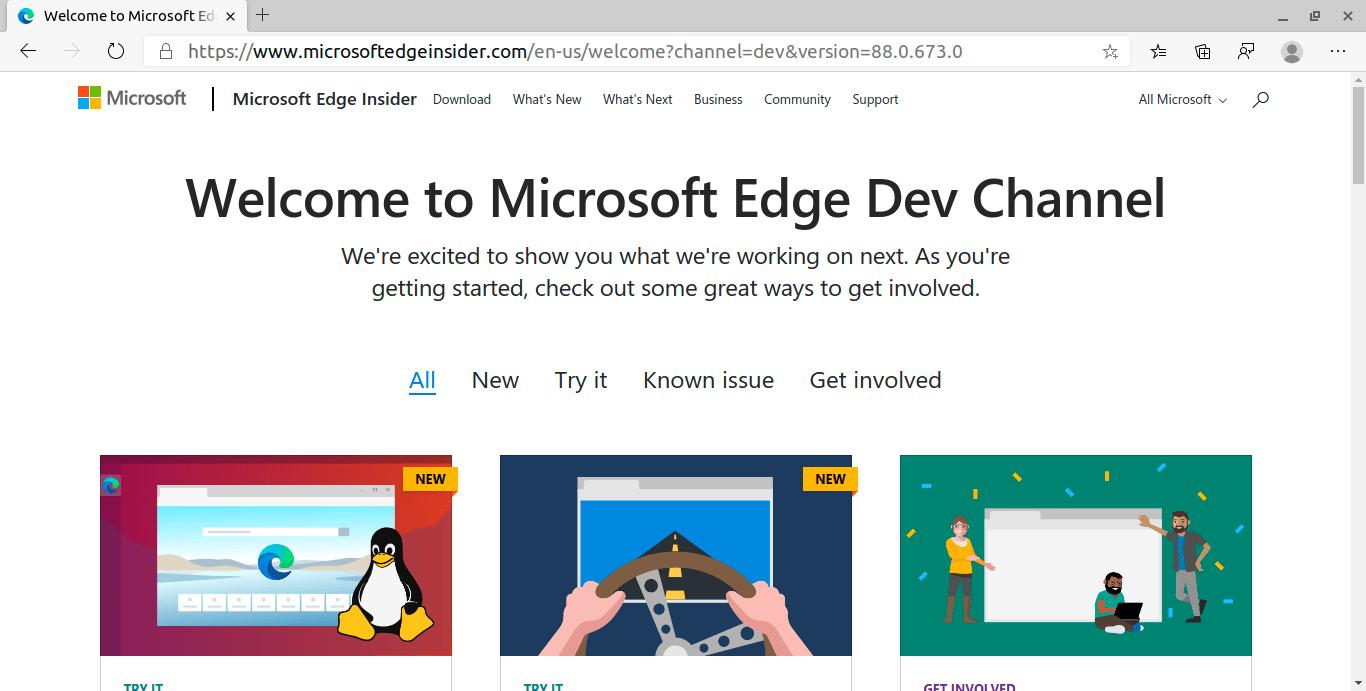Microsoft Edge Insider Home page