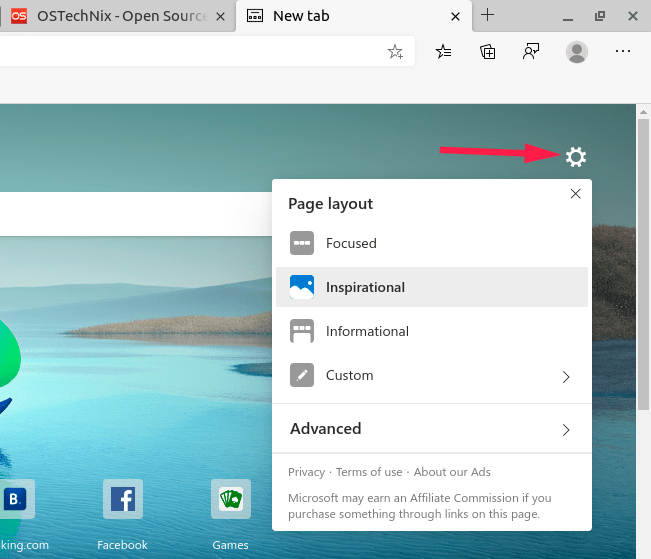 Select New Tab layout in Edge browser