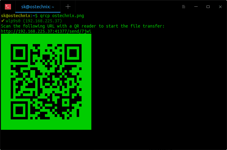 Send files from computer to mobile using Qrcp