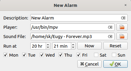 Set alarms using zeit