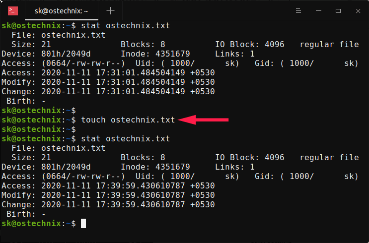 Change Linux file timestamps using touch command