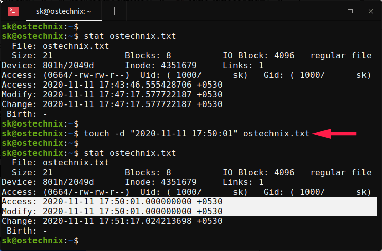 Change both atime and mtime timestamps simultaneously with touch command
