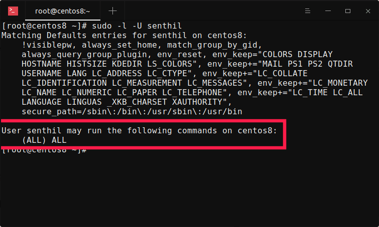 Check if an user has sudo rights in centos