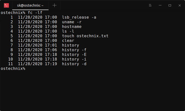 Display date and time stamps in history output using fc command